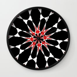 Bizarre Red Black and White Pattern 3 Wall Clock