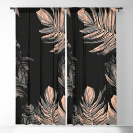 gold and black leaves Blackout Curtain