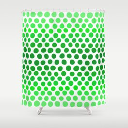 Apple Green and White Dots Ombre Shower Curtain