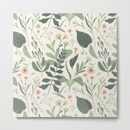 Fall Leaves Flowers Pattern Metal Print