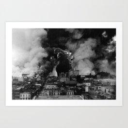 Old Time Godzilla San Francisco Fire Art Print