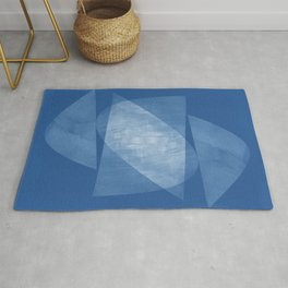 Blue Geometric Abstract Mid Century Modern Rug