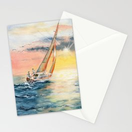 Sailing To The Sunset  Stationery Cards