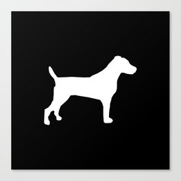 Jack Russell Terrier black and white minimal dog pattern dog silhouette Canvas Print