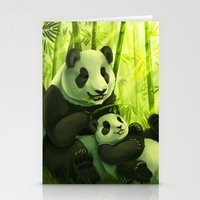 pandas Stationery Cards featuring Pandas by Keshi