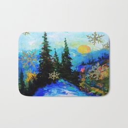 Blue Snowy Mountain Scenic Landscape Bath Mat