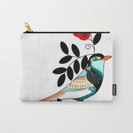 Botanical Floral colorful bird with red flower and black leaves Carry-All Pouch