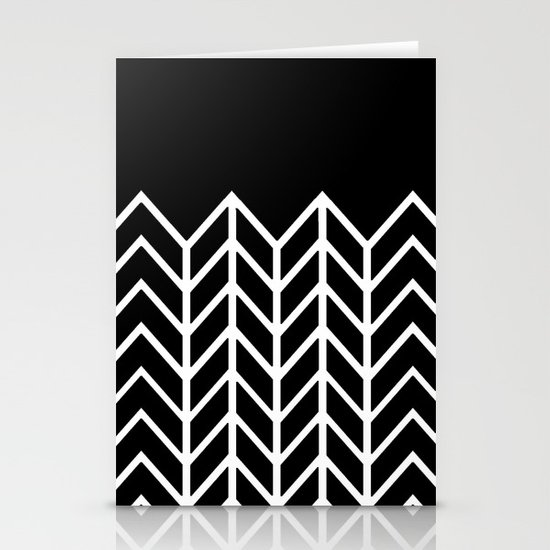 BLACK LACE CHEVRON Stationery Cards