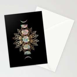 Opal Moon and Gold Stars Stationery Cards