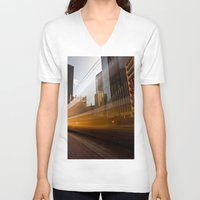 aperture V-neck T-shirts featuring Ghost Train 2 by Mark Alder