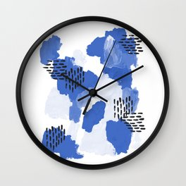 Painted blue abstract monochromatic minimal modern art painting dorm college gender neutral design Wall Clock