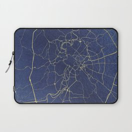 Rome Blue and Gold Street Map Laptop Sleeve
