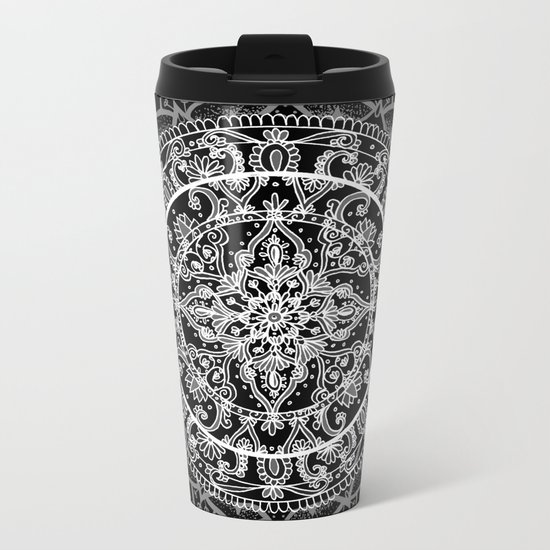 Detailed Black and White Mandala Pattern Metal Travel Mug