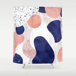 Terrazzo galaxy pink blue white Shower Curtain