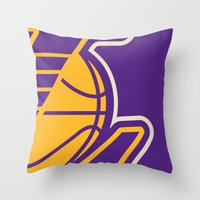 lakers Throw Pillows featuring Lakers by racPOP