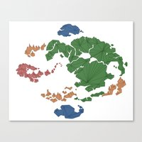 avatar the last airbender Canvas Prints featuring Avatar the Last Airbender: Map (Fill) by ChemicalCurve