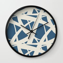 Linen White & Blue Abstract Mosaic Pattern 3 Pairs To 2020 Color of the Year Chinese Porcelain Wall Clock