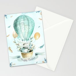 Cute Easter Bunny Hot Balloon Stationery Cards
