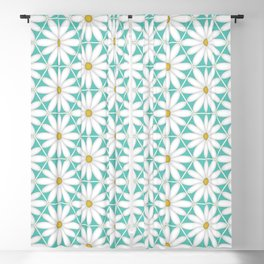 Daisy Hex - Turquoise Blackout Curtain