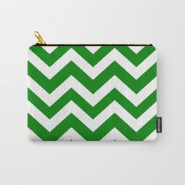 Office green - green color - Zigzag Chevron Pattern Carry-All Pouch