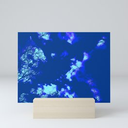Abstract landscape Blue tree clouds Mini Art Print