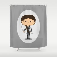 katniss Shower Curtains featuring Girl on Fire by Sombras Blancas Art & Design