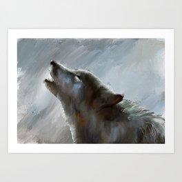 Howling Wolf (on Grey) Art Print