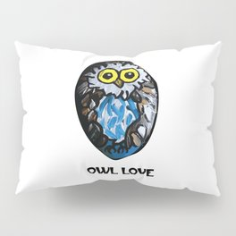 Owl Love Rock Painting on River Rock by annmariescreations Pillow Sham