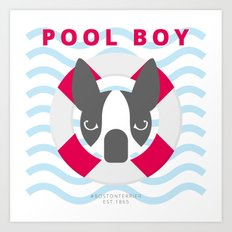 Boston Terrier: Pool boy. Art Print