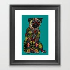 pug love teal Framed Art Print