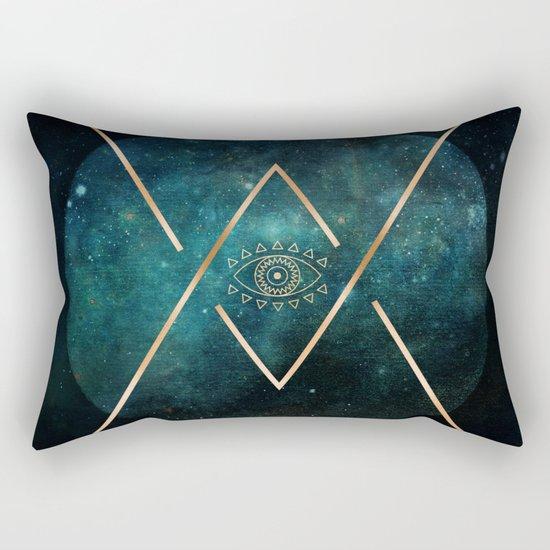 Eye Moon Gold Geometric Tribal Bohemian Mandala Rectangular Pillow