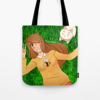 puppycat Tote Bags featuring Bee and Puppycat by radcoffee