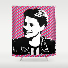 jace norman print art pink stripe Shower Curtain
