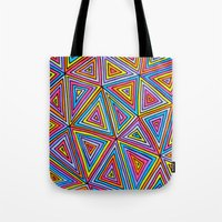 triangle Tote Bags featuring Triangle by Neon Wonderland