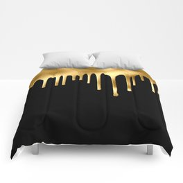 Black & Gold Drips Comforters