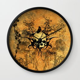 Awesome skul and crow Wall Clock
