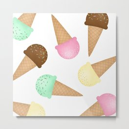 Ice Cream Pattern Metal Print