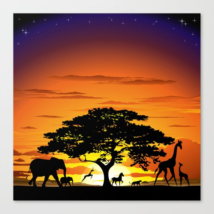 Wild Animals On African Savanna Sunset Canvas Print By
