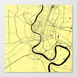 Bangkok Thailand Minimal Street Map - Pastel Yellow and Black Canvas Print
