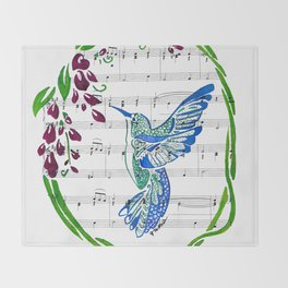Carrier of Hope (Hummingbird and Wisteria) Throw Blanket