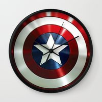 steve rogers Wall Clocks featuring Captain Steve Rogers Shields  by neutrone