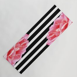 Pink roses on black and white stripes Yoga Mat
