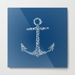 Anchor with Bones Metal Print