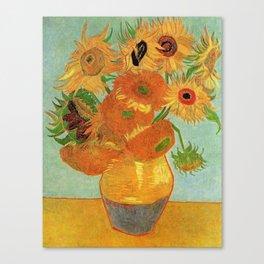 Famous art, Still Life - Vase with twelve Sunflowers by Vincent van Gogh. Canvas Print