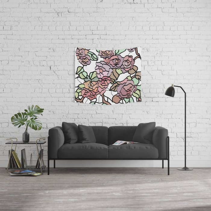 Pattern Of Branches And Roses 2 Pastel Colors Home Decor Wall