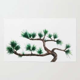 green pine tree painting Rug