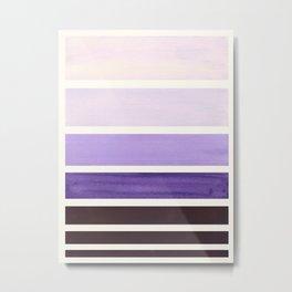 Purple Minimalist Watercolor Mid Century Staggered Stripes Rothko Color Block Geometric Art Metal Print