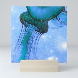 Blue Glow Jelly Fish Mini Art Print