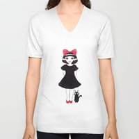 kiki V-neck T-shirts featuring Kiki and Jiji by Wondering Lolita by Naeema Krishna