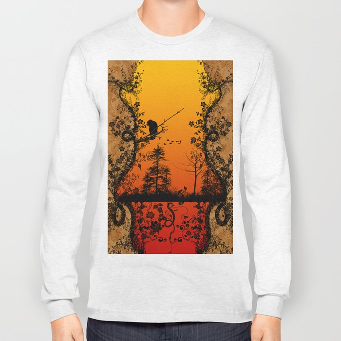 Trees and birds  Long Sleeve T-shirt